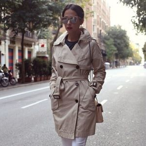 GAP Beige Double Breasted Belted Trench Coat